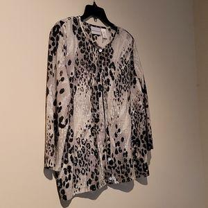 Leopard print, light weight cardigan sweater